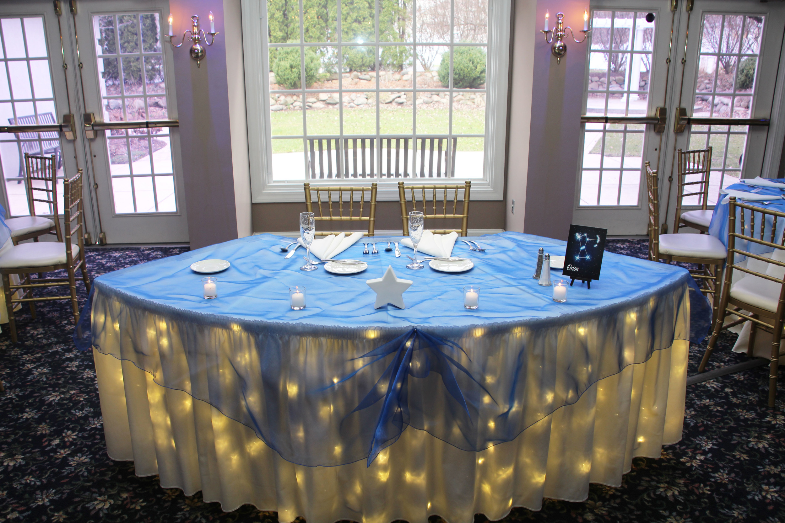 Blue Organza Sweetheart Table