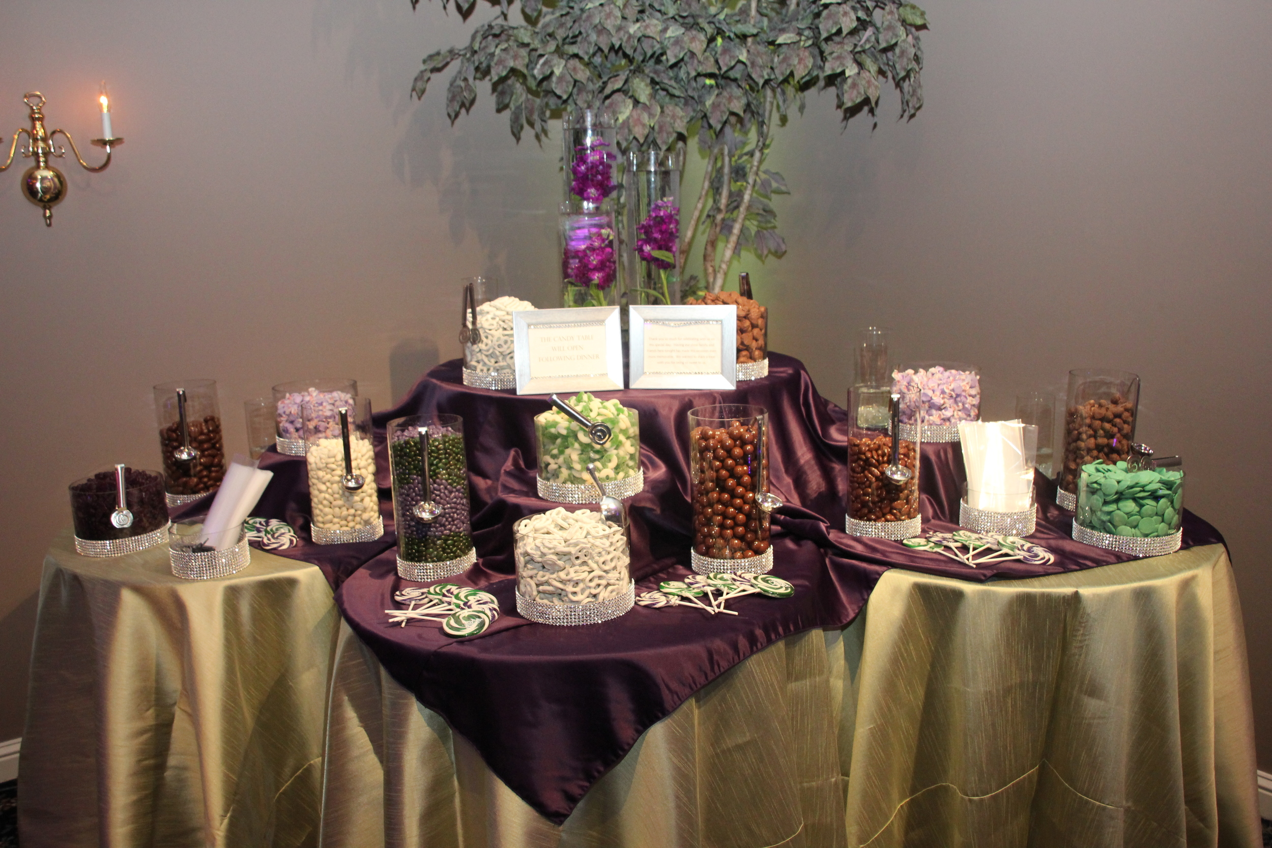 Burgundy and Gold Candy Table