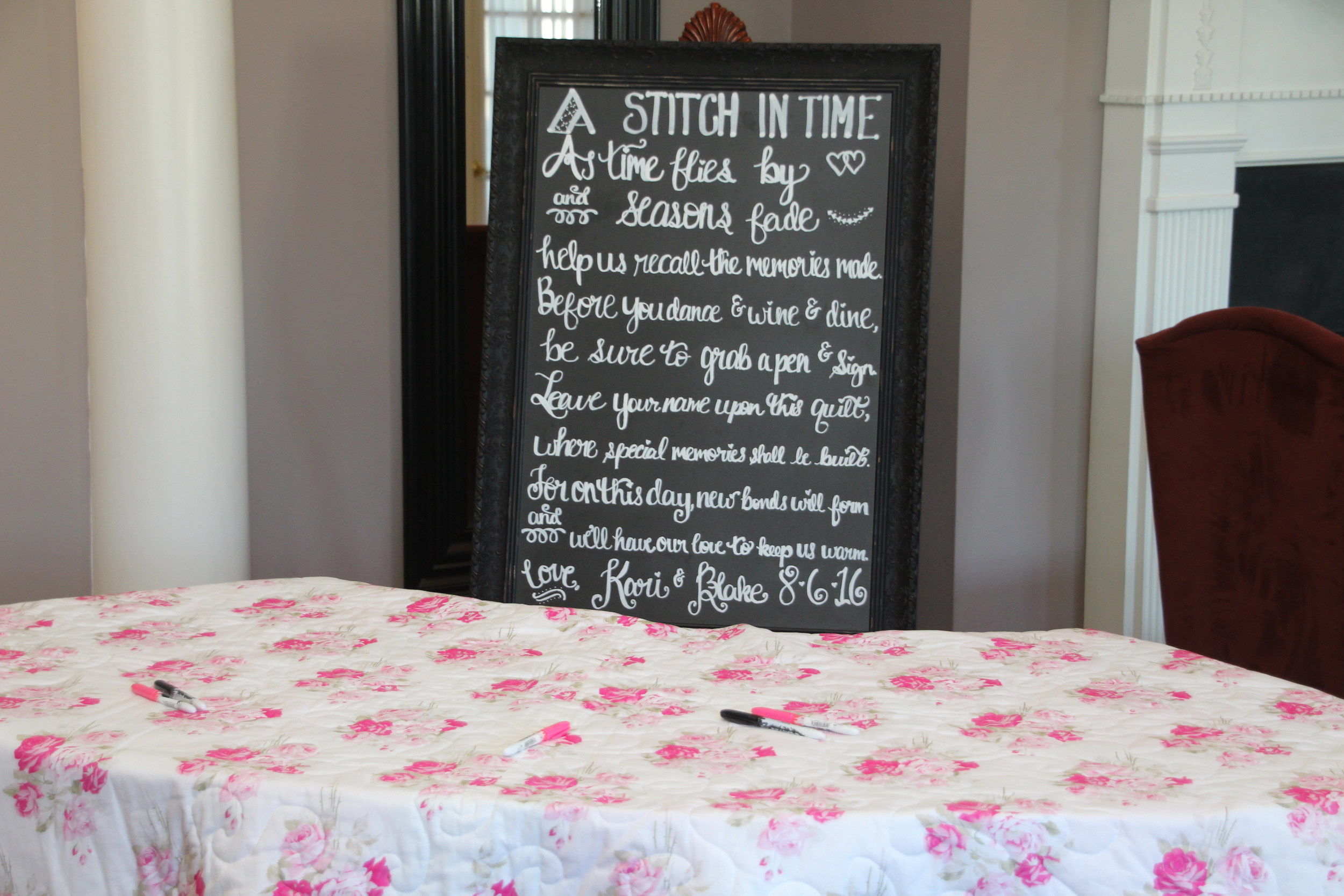 """This has got to be one of my favorite """"guest book"""" ideas! The custom made quilt was on display for all of the guests to sign, and later will be used to warm up on chilly nights, while our bride and groom take a walk down memory lane."""