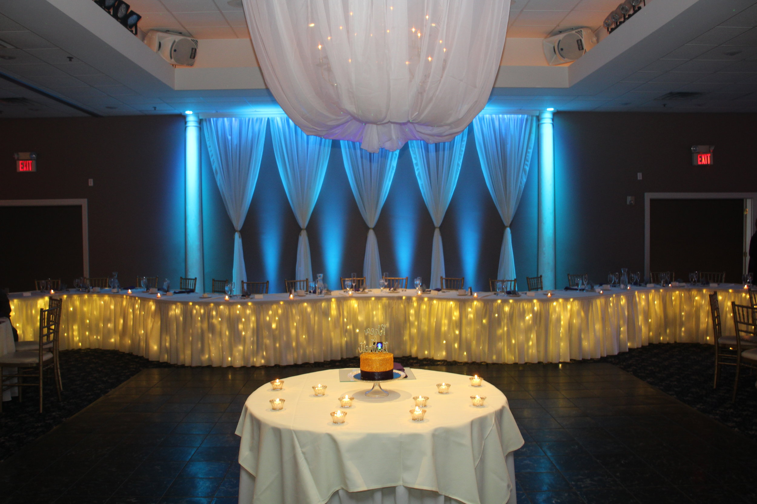 Our brand new ceiling decor made its debut at Rhea and Garrett's wedding. As much as we'd love to take credit for it, we can't. This couple came in with a vision, and we helped bring it to life. So do YOU have a unique idea that has never been done before? If so, share it with us and we can help turn your dream into reality!