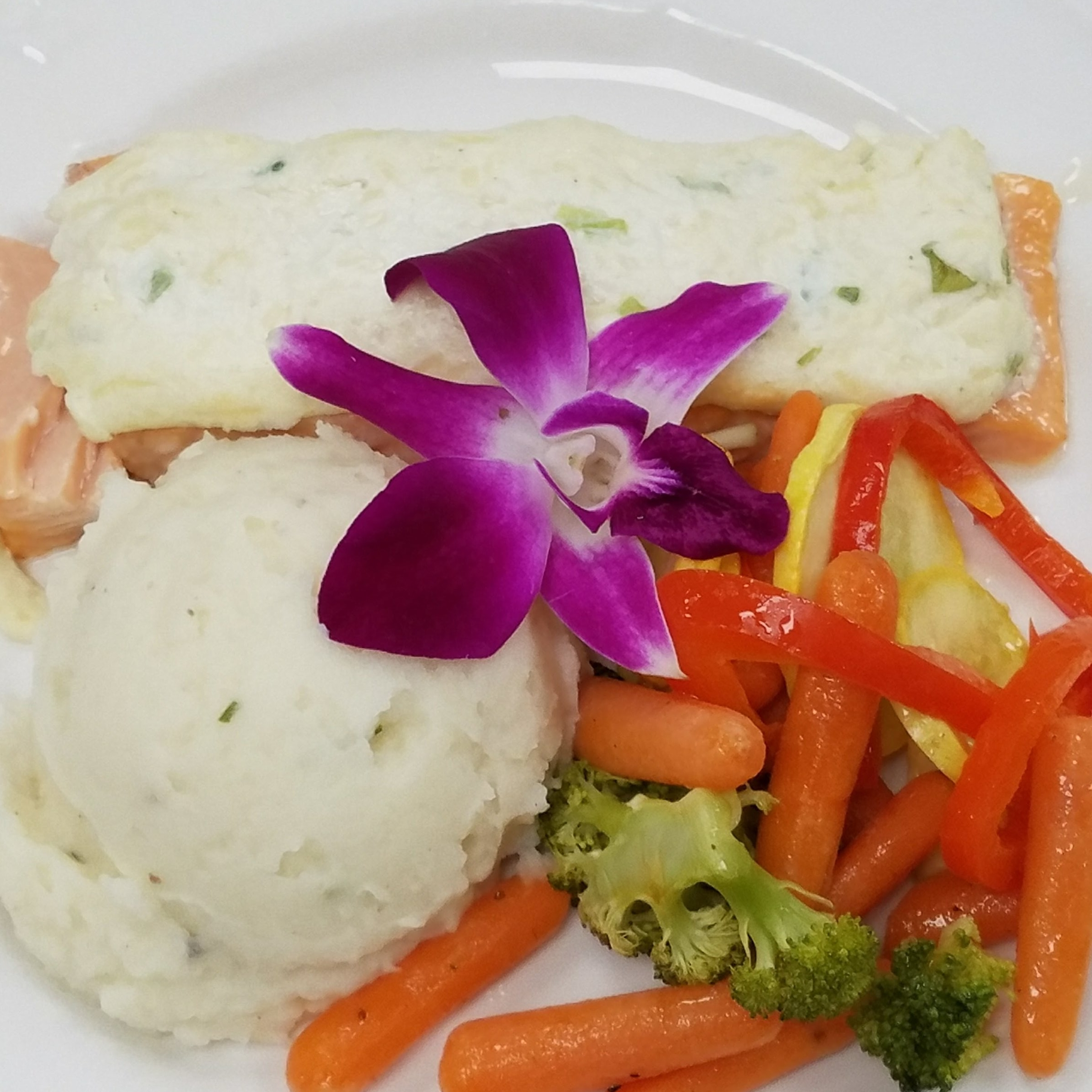 Three Cheese Salmon with Sour Cream and Chive Mashed Potatoes