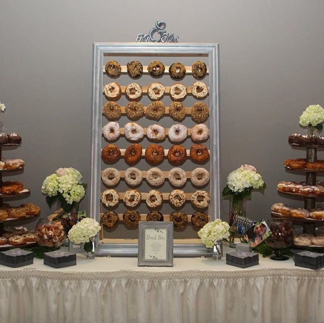 Donut tables are all the rage right now and guests are LOVING them.  #donutwall #donutsnocake #aberdeenmanor #dessert