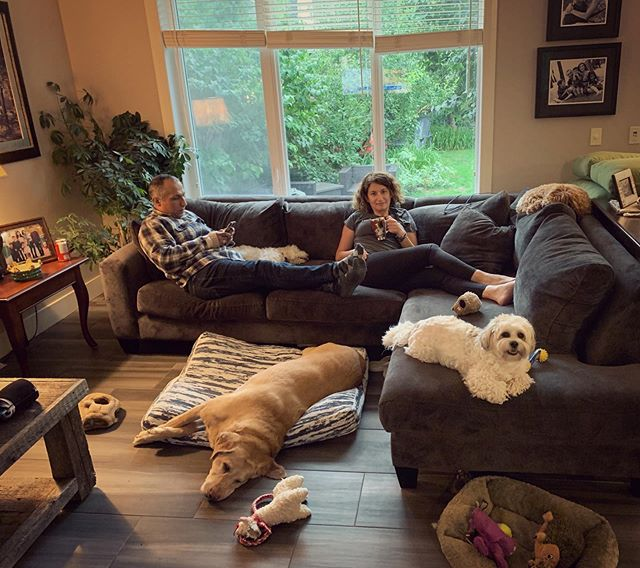 Not a bad way to spend a rainy Monday evening. 4 pups, a coffee, a hubby, and lots of doggy toys! #mylife #dogmom