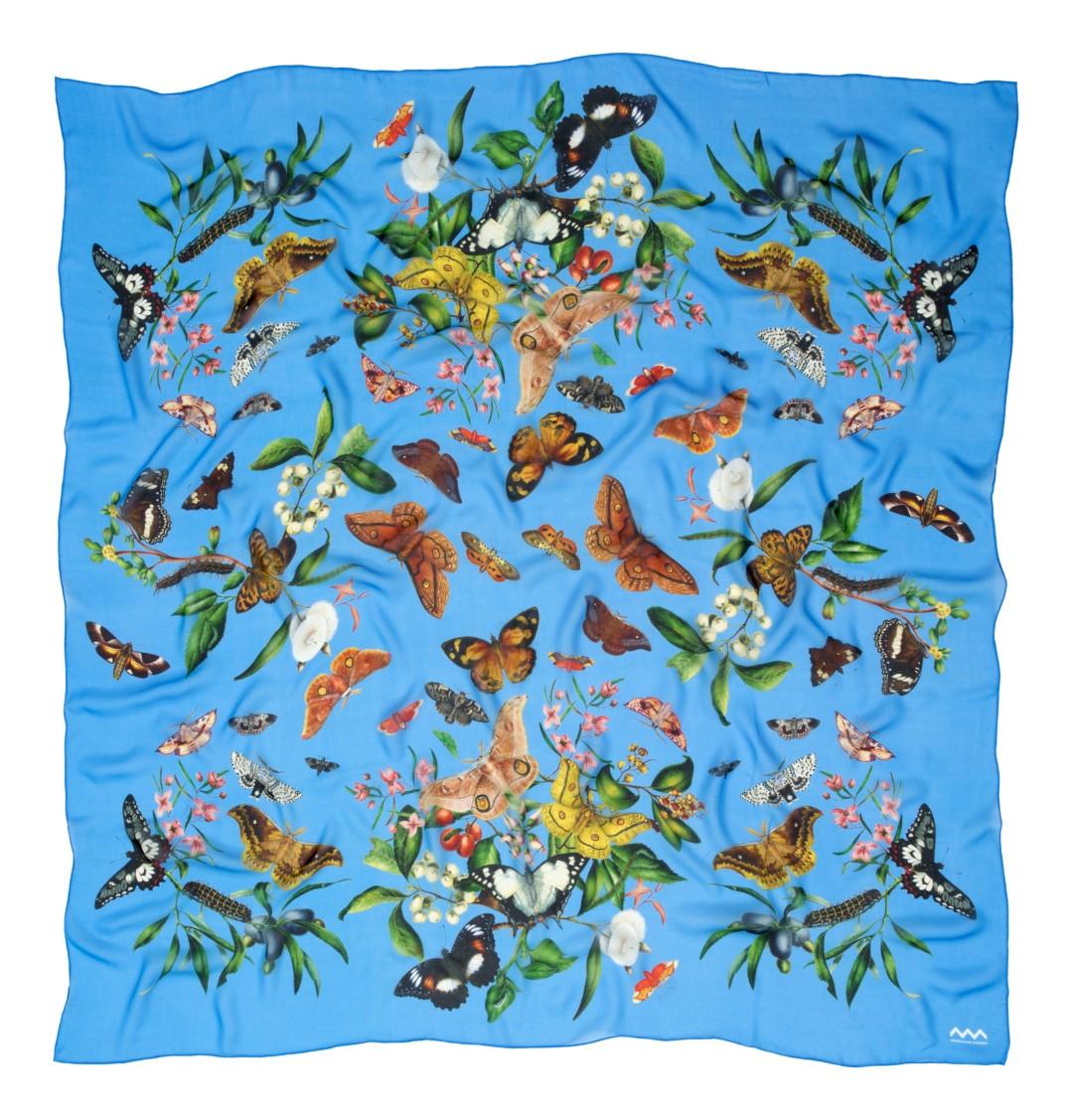 Scott Sister Specimen Drawing silk scarf in blue for the Australian Museum