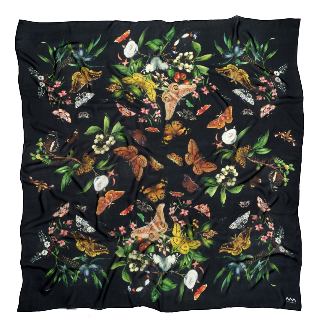 Scott Sisters Specimen silk scarf in black for the Australian Museum