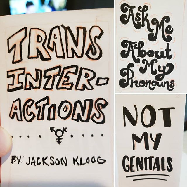 Zine idea I'm playing around with. Trans Interactions. Covering the basics of LGBTQ+ terminology and how to interact with a trans person. . . . . #wip #workinprogress #process #zine #zines #lgbtq #lgbtqart #lgbtqartist #queer #trans #transgender #pronouns #artistsoninstagram #artists_on_instagram #artist #azartist #phoenixartist #transart #art #sketch #doodle #illustration #design #drawing #ink