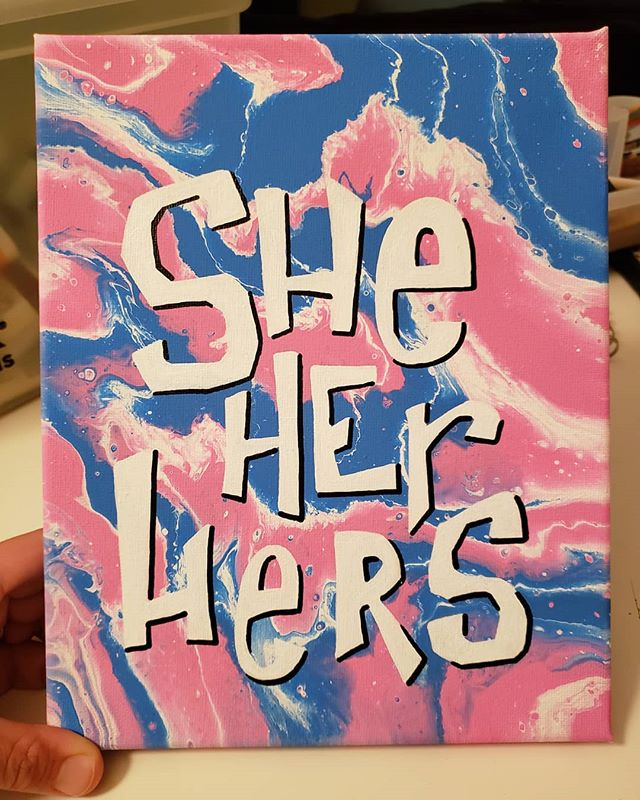 She/Her/Hers Pronoun Painting. Now available in my Etsy shop!  Link in bio 💜 . . . . . #art #artistsoninstagram #artists_on_instagram #artist #painting #acrylic #acrylicpainting #lgbtqartist #queerartist #trans #transgender #ftm #nb #enby #nonbinary #transpride #sheher #genderfluid #genderneutral #genderqueer #azartist #phoenixartist #transart #etsy #etsyshop #mtf