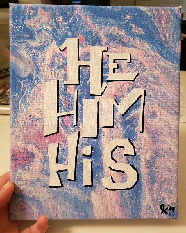 He/Him/His Pronoun Painting. Now available in my Etsy shop!  Link in bio 💜 . . . . . #art #artistsoninstagram #artists_on_instagram #artist #painting #acrylic #acrylicpainting #lgbtqartist #queerartist #trans #transgender #ftm #pronoun #enby #nonbinary #transpride #hehim #type #typography  #handdrawntype #genderqueer #azartist #phoenixartist #transart #etsy #etsyshop #mtf