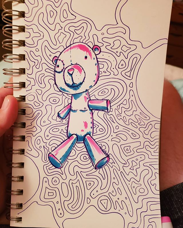 Bed time sketch book session . . . . . . #sketch #sketchbook #art #artistsoninstagram #artists_on_instagram #artist #doodle #drawing #inkdrawing #ink #illustration #teddy #teddybear #trans #transgender #ftm #lgbtq #queer #queerartist #lgbtq #lgbtqart #lgbtqartist #topsurgery #ftmtopsurgery