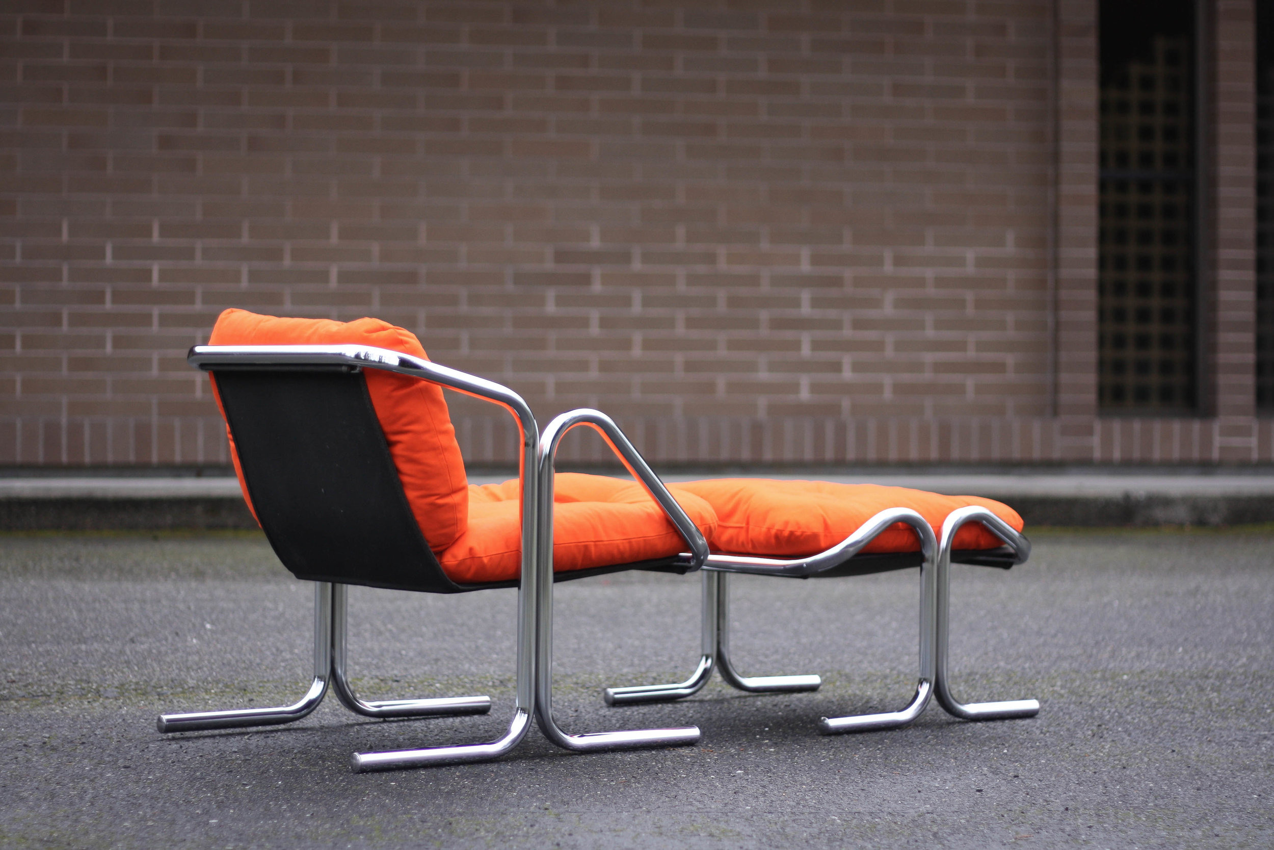 Jerry Johnson Chrome Sling Chair And Ottoman Sold Mid