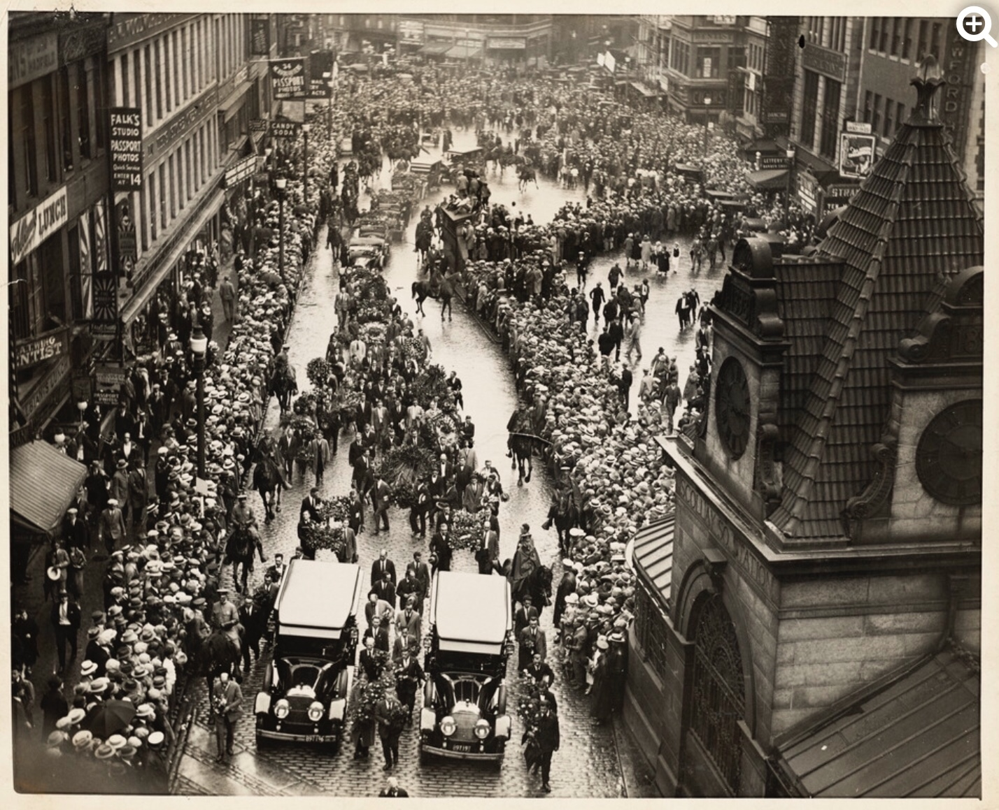 In 1927, tens of thousands of people filled Boston streets to mourn the execution of Sacco and Vanzetti forming the largest crowd the city had ever seen in that time and for many more years to come.