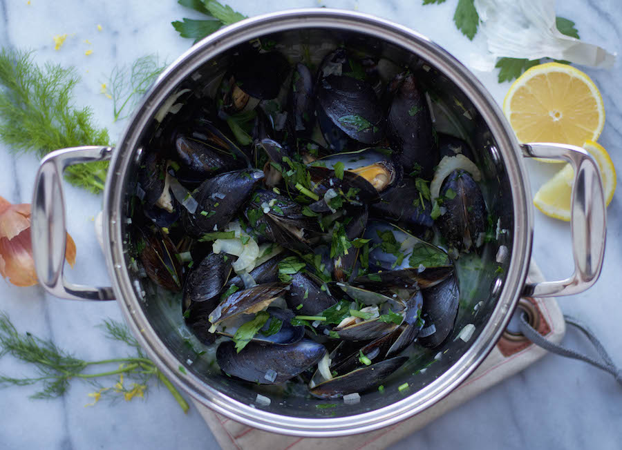 Pot of Steamed Mussels with Fennel White Wine Broth