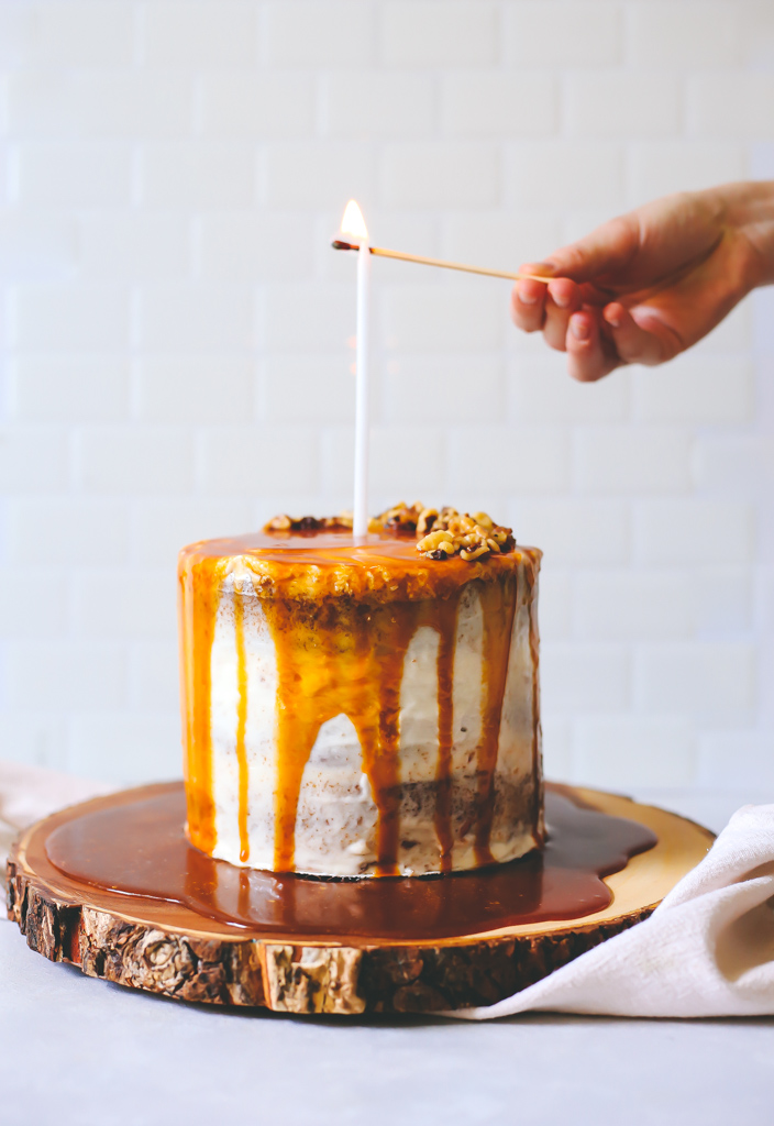 Spiced Carrot Cake with Caramel Drip