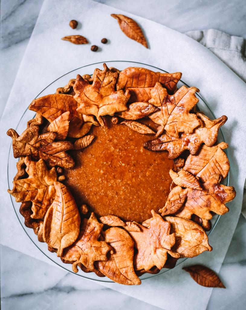 Pumpkin Pie with Decorative Leafy Crust