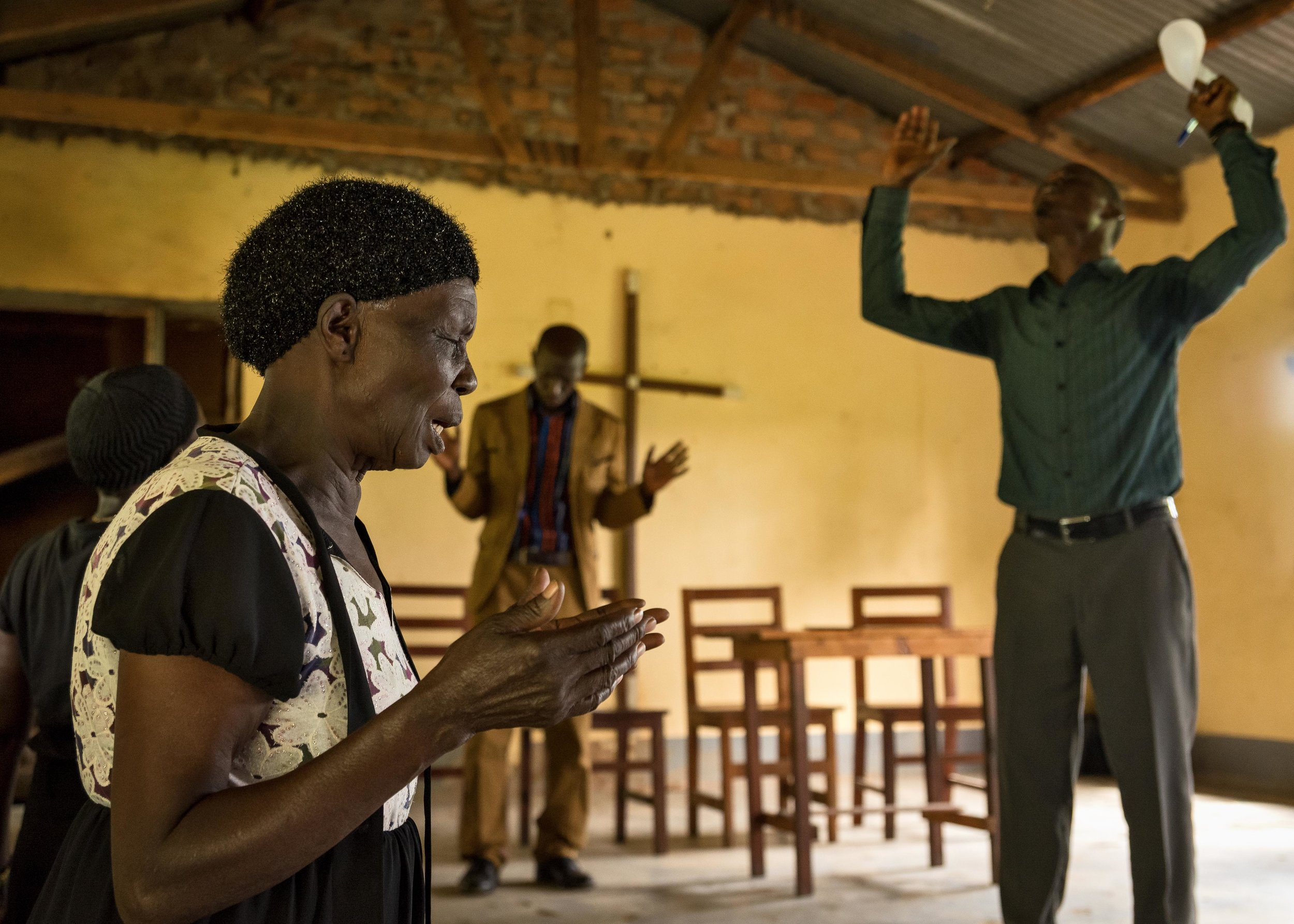 Refugees from South Sudan's Western Equatoria region gather for the monthly Prayers for the Healing of South Sudan service in northern Uganda.