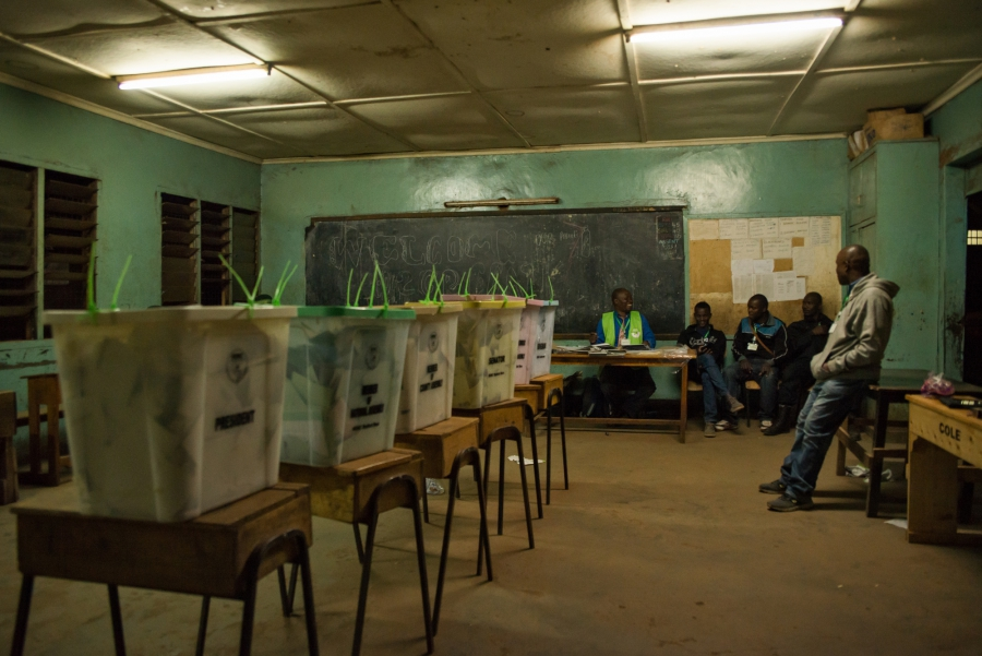 Election officials wait for confirmation to begin counting votes for Kenya's next president in Nairobi, Kenya. Katie G. Nelson
