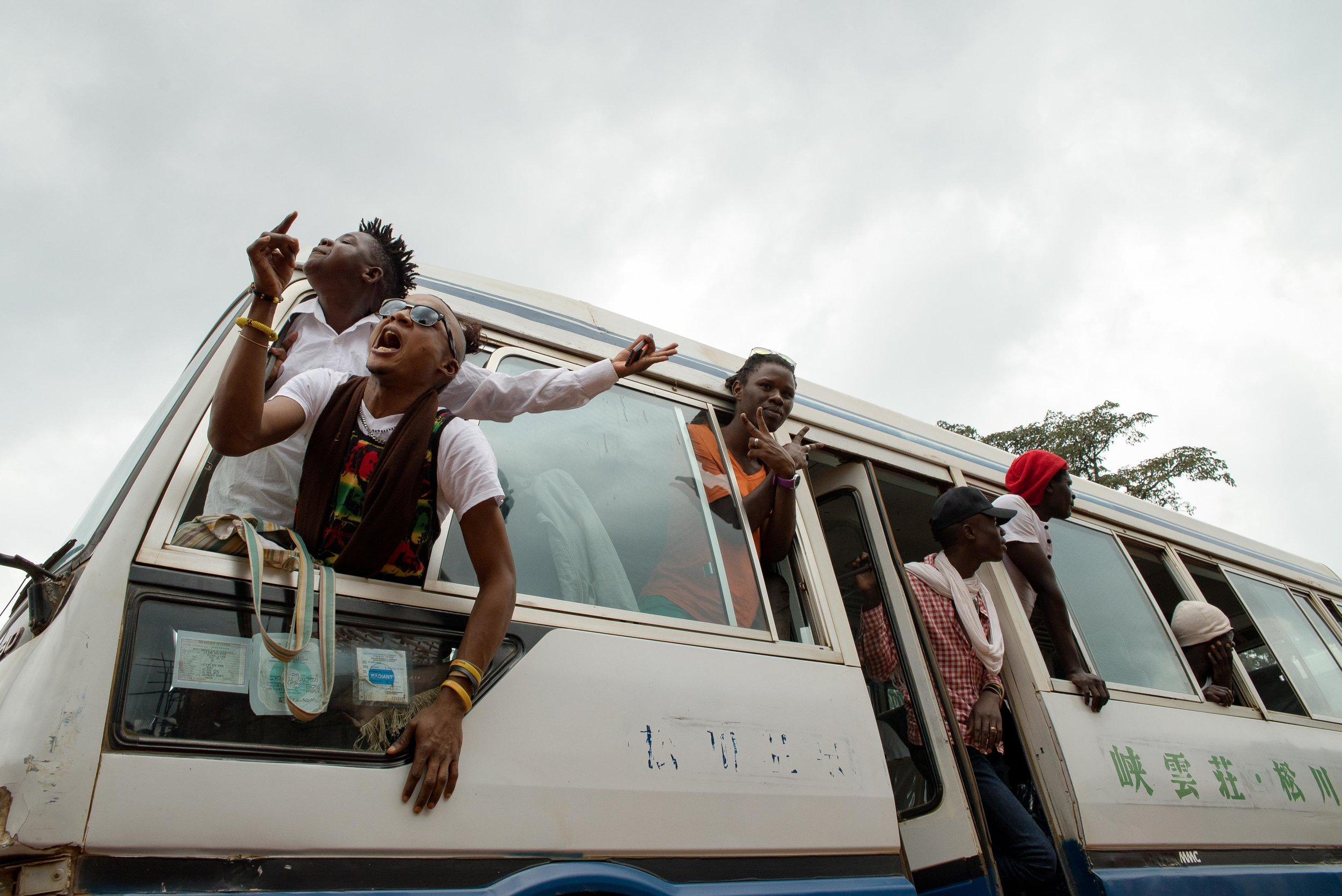 """Members of Uganda's gay and transgender community yell """"we want peace"""" after police forced them to leave the gay pride festival in Entebbe, Uganda, Saturday, Sept. 24, 2016. Photo: Katie G. Nelson"""