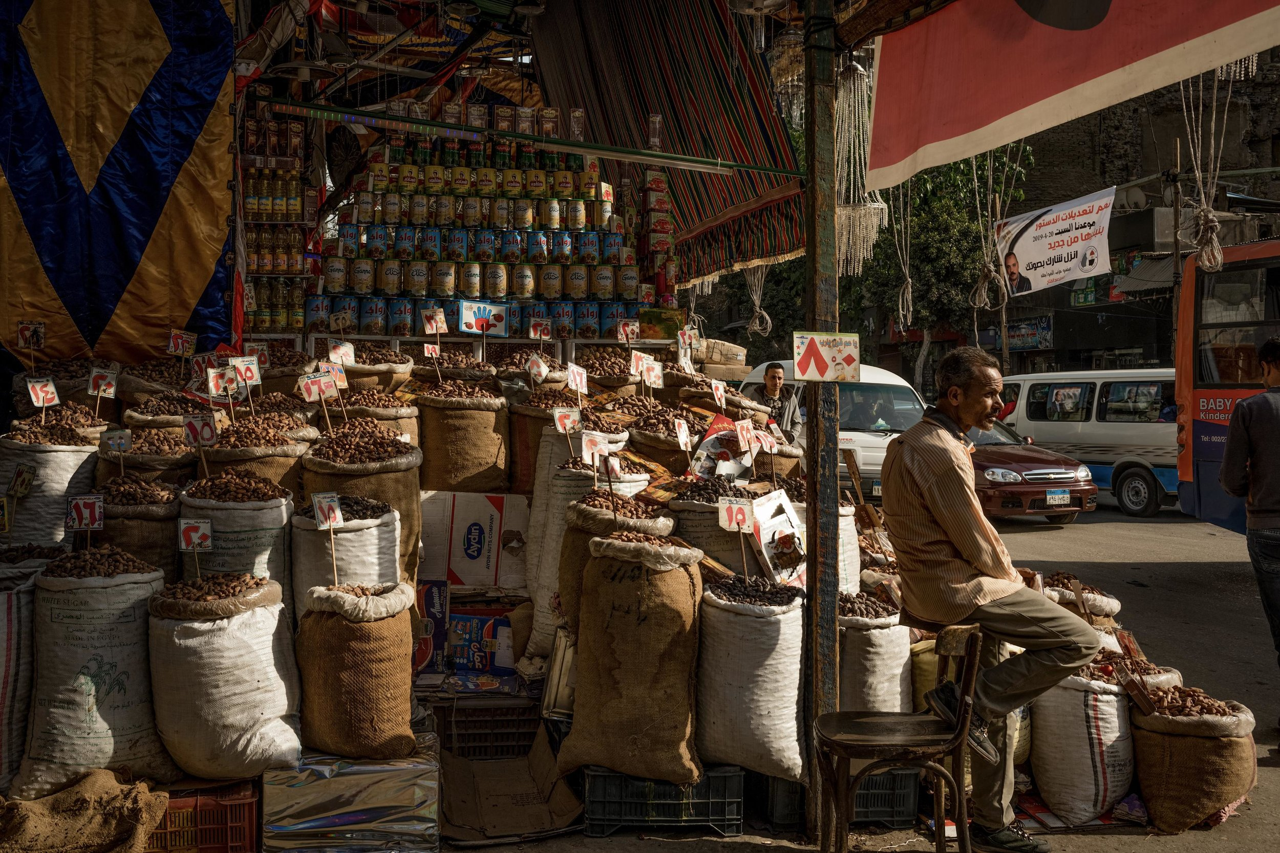 A spice trader in Cairo, Egypt. 2019.