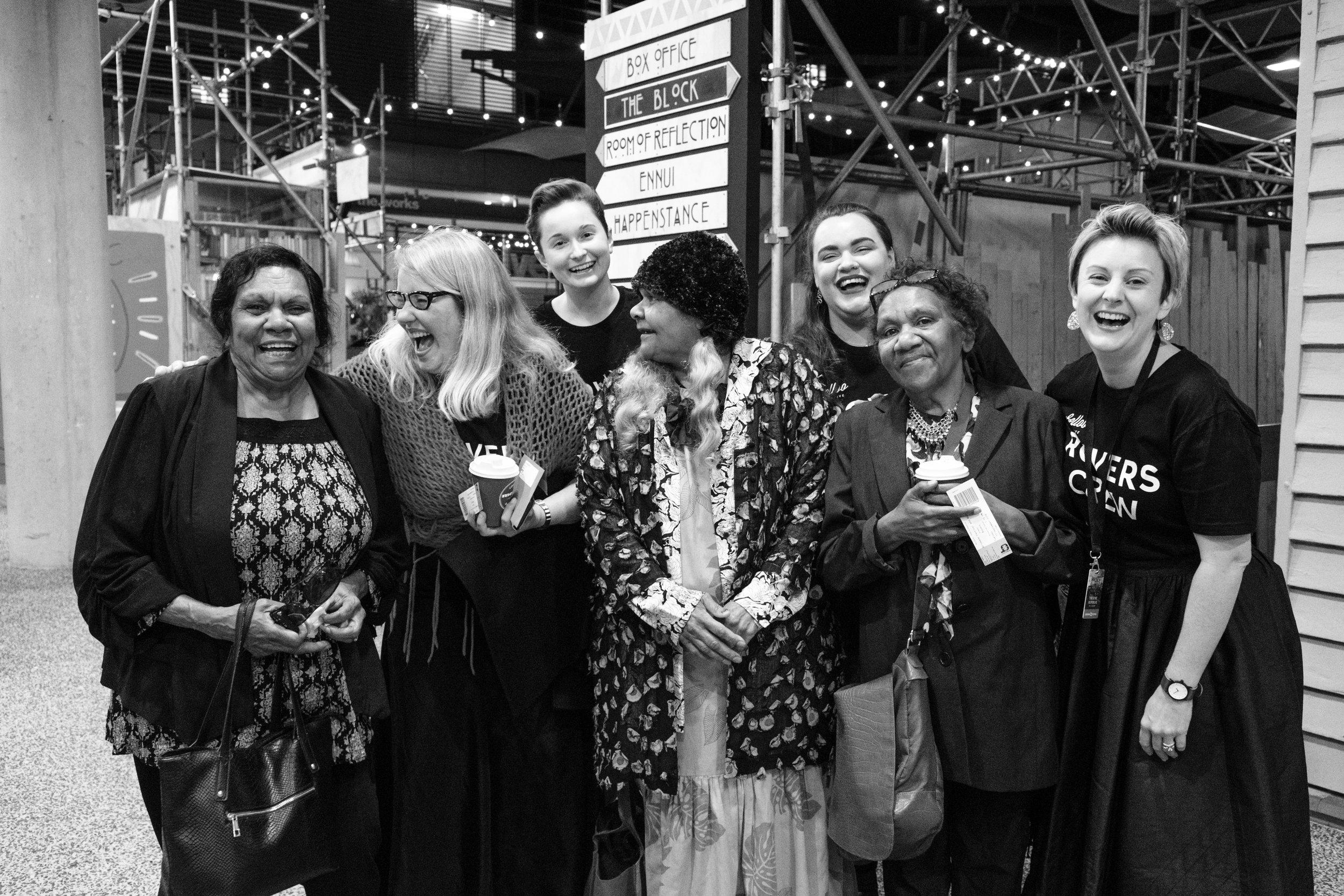 Rovers (2018) Community Engagement Project, Brisbane Festival. Pictured: Aunty Melita Orcher, Kathryn Kelly, Cinnamon Watson, Aunty Estelle, Emily Coleman,  Aunty Berenice and Danielle Shankey.