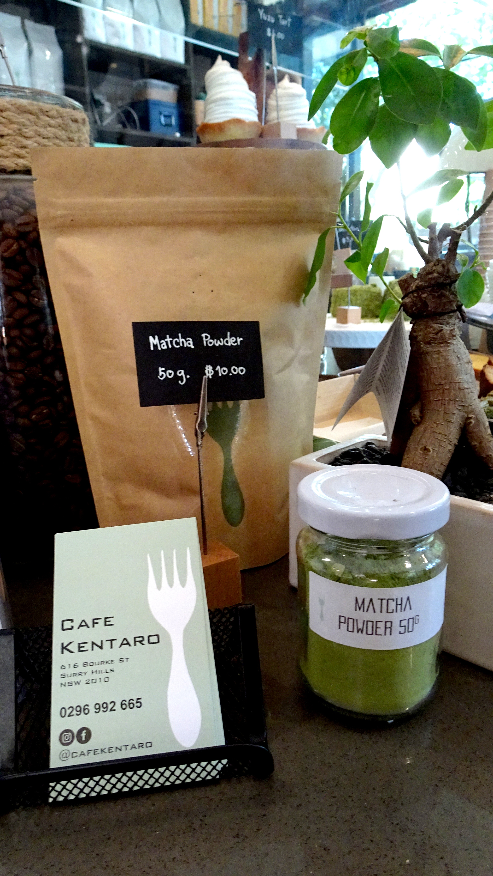 Cafe Kentaro Surry Hills Sydney Macha powder