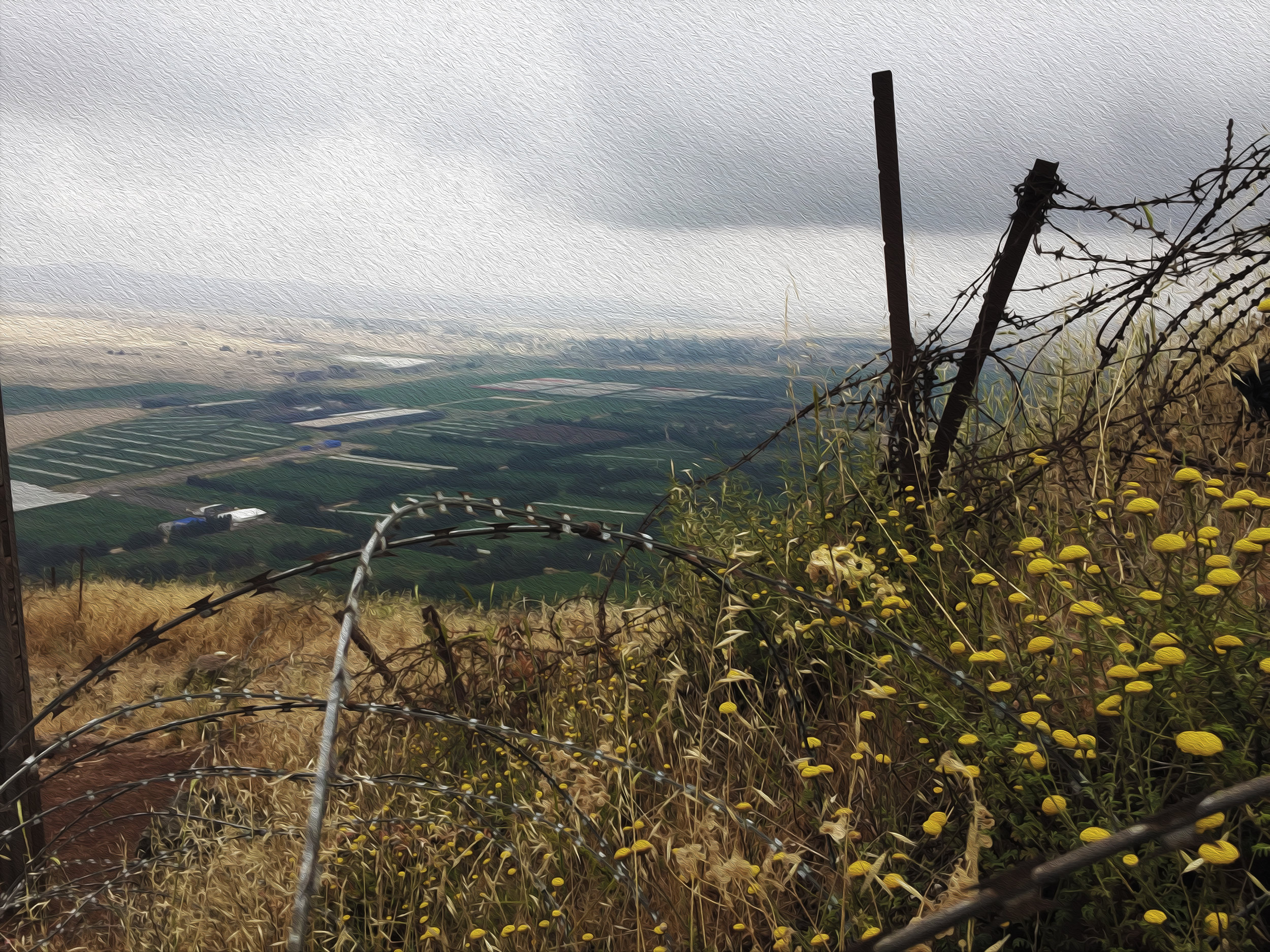 Matthew Williams/The Conflict Archives: The Occupied Golan Heights overlooking the Quneitra ( Muḥāfaẓat Al-Qunayṭrah)  province.