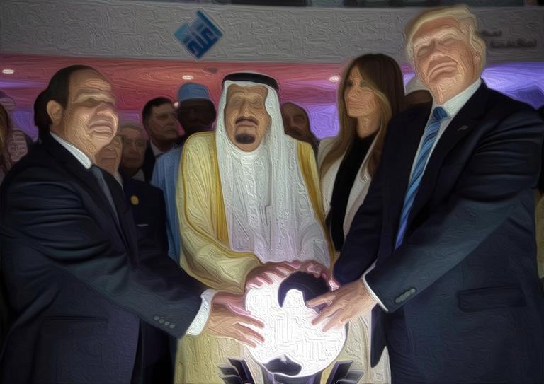 President Abdel Fattah el-Sisi of Egypt, King Salman of Saudi Arabia, Melania Trump and President Trump during the opening of an anti-extremist center in Riyadh, Saudi Arabia. Saudi Press Agency