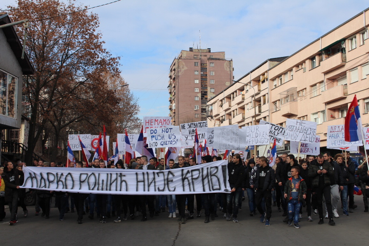 © Matthew Williams/The Conflict Archives: Thousands of Kosovar Serbs demonstrating in Mitrovica in northern Kosovo on December 4th, 2018.