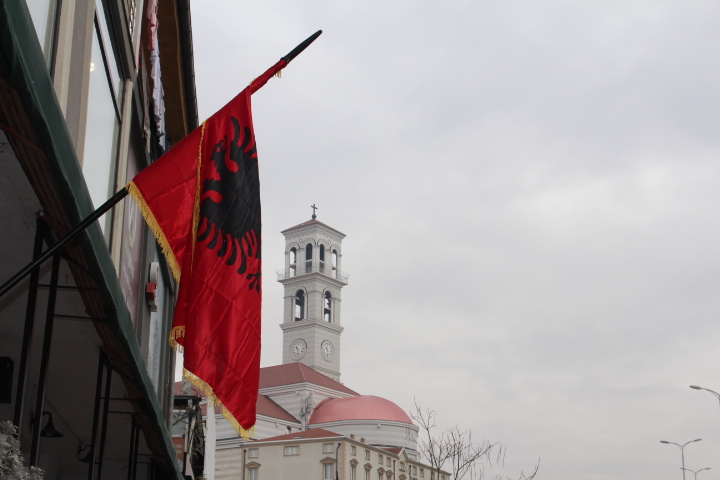 © Matthew Williams/The Conflict Archives: An Albanian flag in Pristina, the capital of Kosovo.