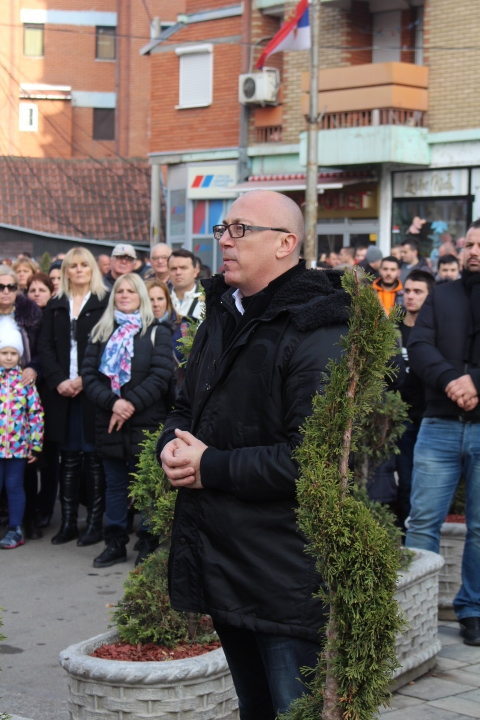 © Matthew Williams/The Conflict Archives: Goran Rakic, who  resigned  as mayor of North Mitrovica last week, along with three other mayors in Serb-majority municipalities, Leposavic, Zubin Potok, and Zvecan, addressed the protesters in northern Mitrovica.