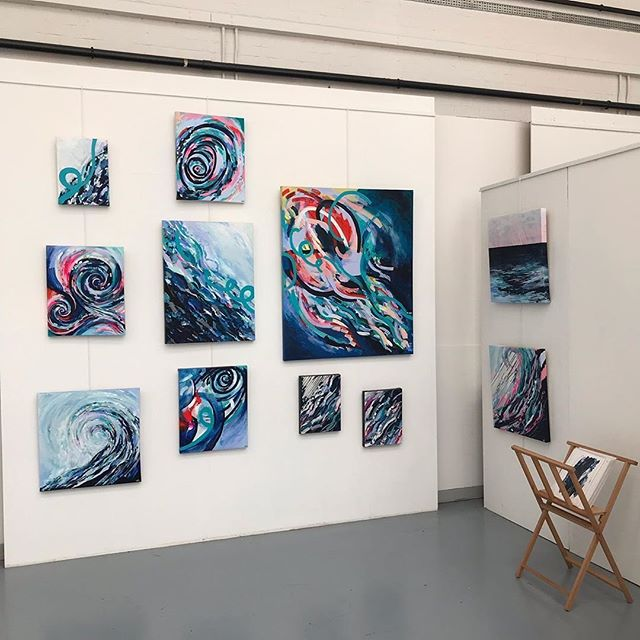 "Surf and seascape inspired stunning artwork at LokoCampers HQ this weekend. Exhibition opening 1-5pm on Saturday.  @okoartuk on Instagram: ""Hanging continues for exhibition 6-14 July. Loving the movement and colour from Emma Reed @cedars_yard display of her 'Widow to the Surf'…"" https://buff.ly/2KVgcSZ"