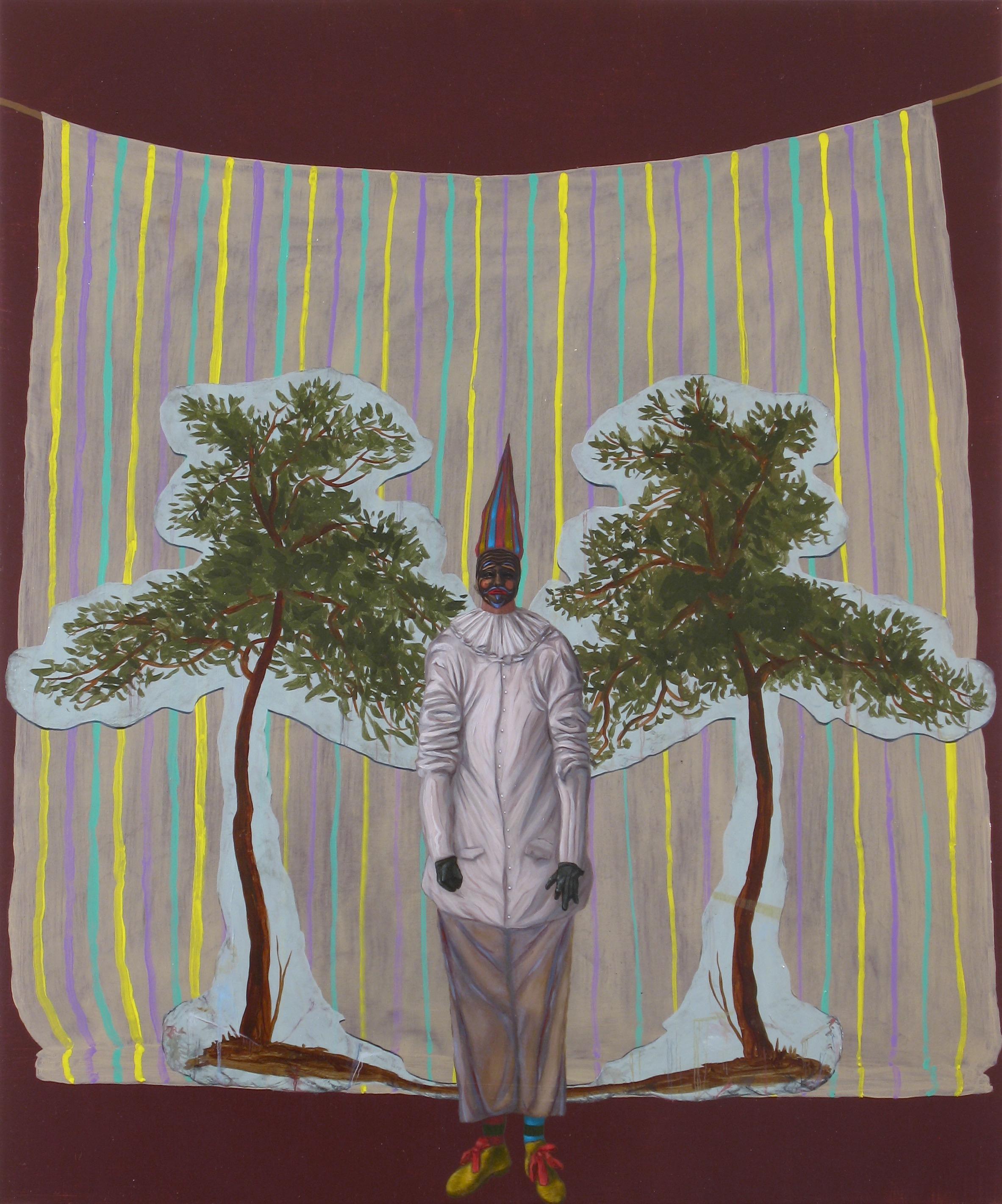 On Tour (The White Clown), Oil on wood panel, 50x60cm, 2008
