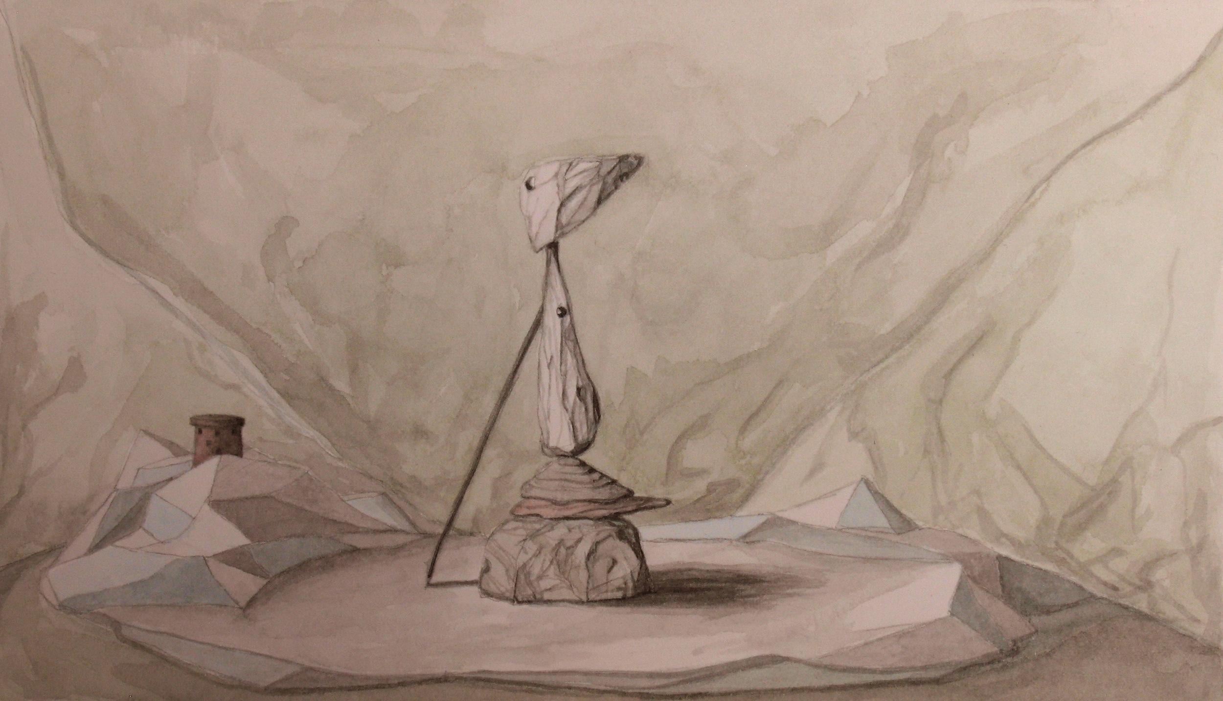 The Pilgrim, Watercolour on paper, 24x14cm, 2010