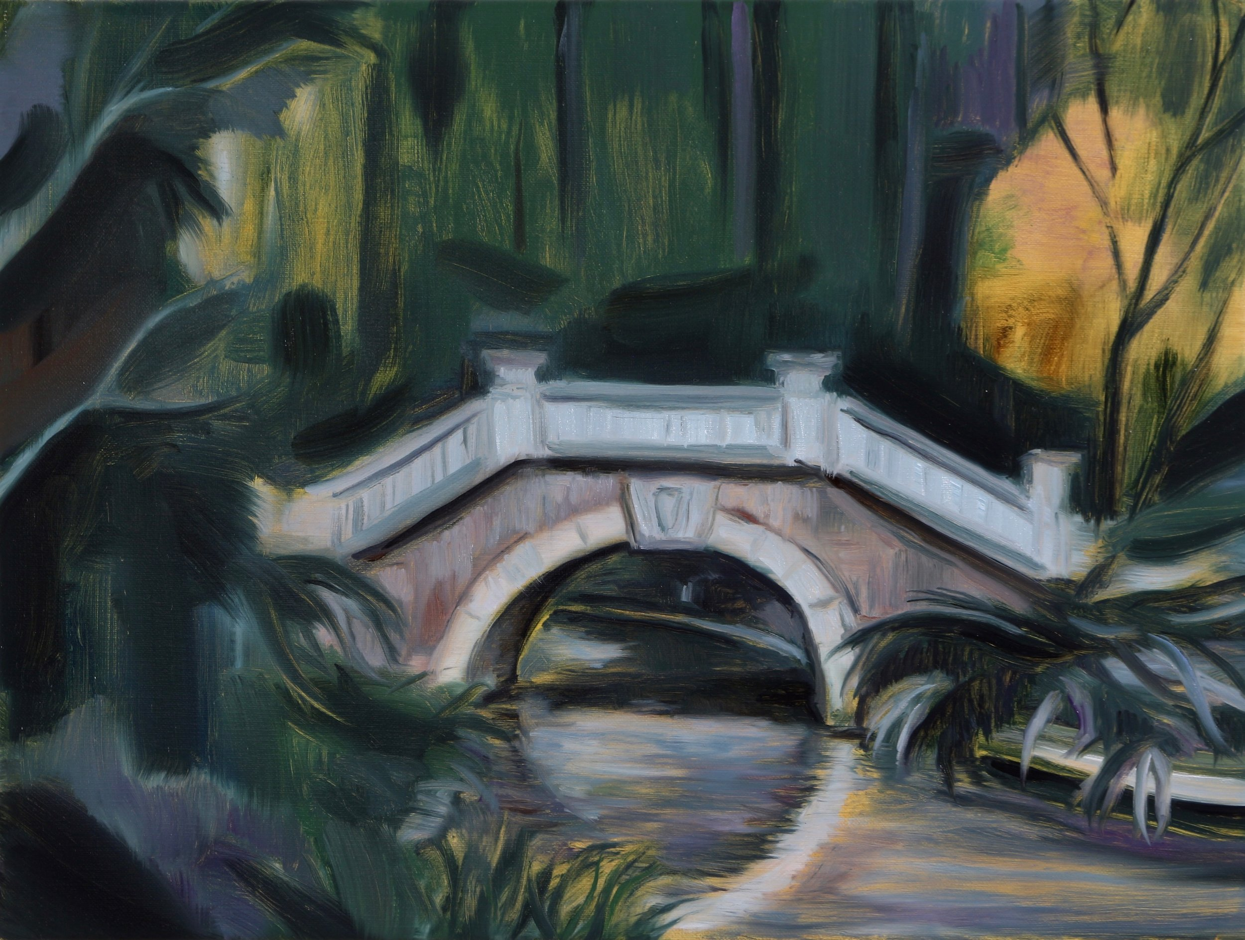 Parc Monceau (The Bridge), Oil on linen, 30x40cm, 2017
