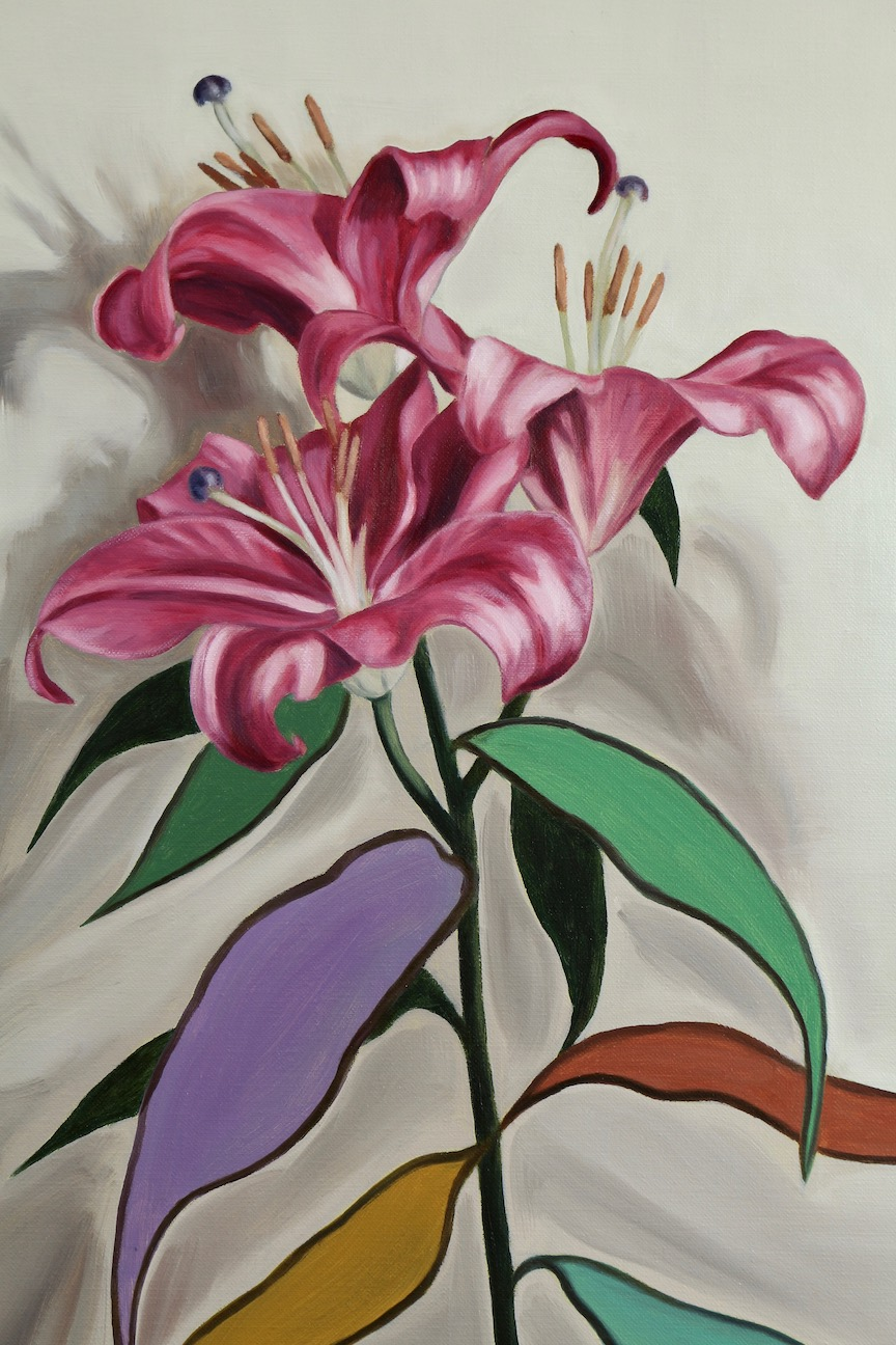 Pink Lilies with Two Circles (detail)
