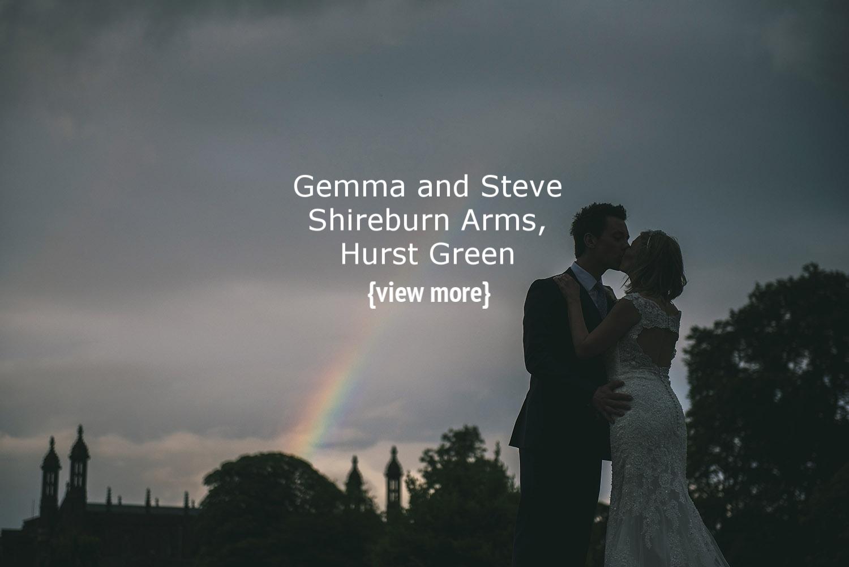 Stoneyhurst wedding college couple under rainbow
