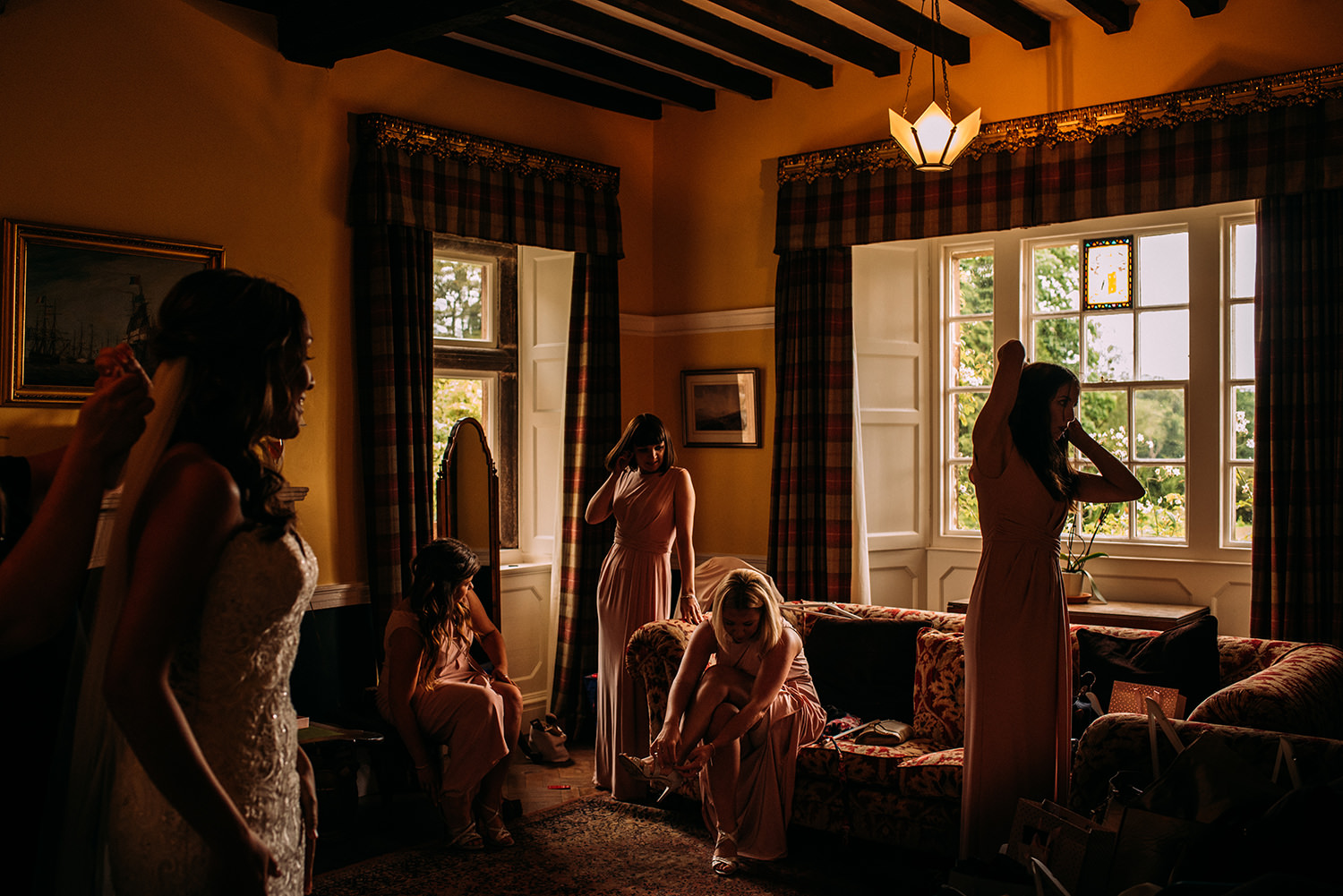 award winning colour photo of bride and bridesmaids getting ready