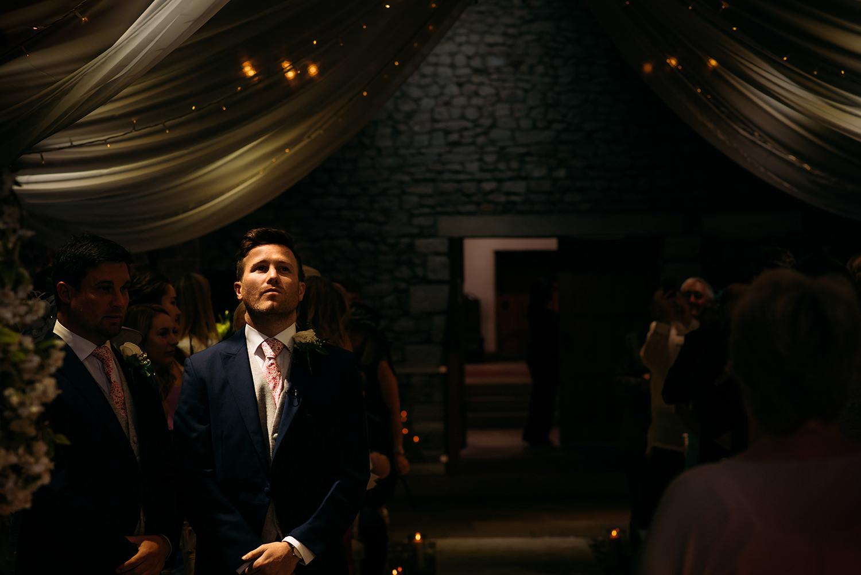 colour photo, nervous groom