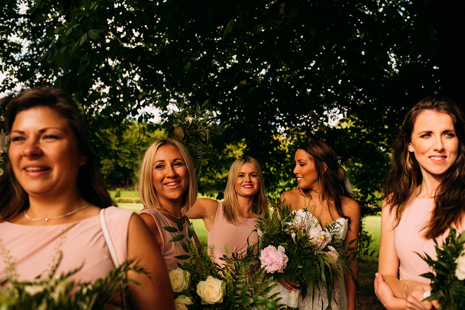colour photo of bride and maids