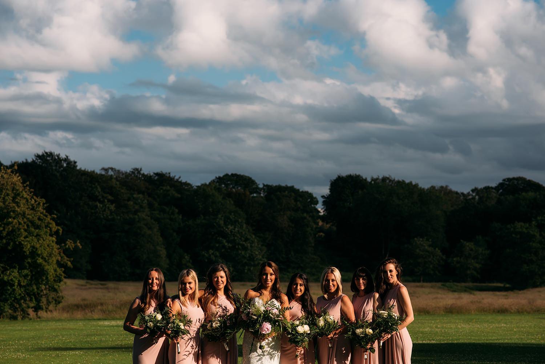colour photo, bride and bridesmaids