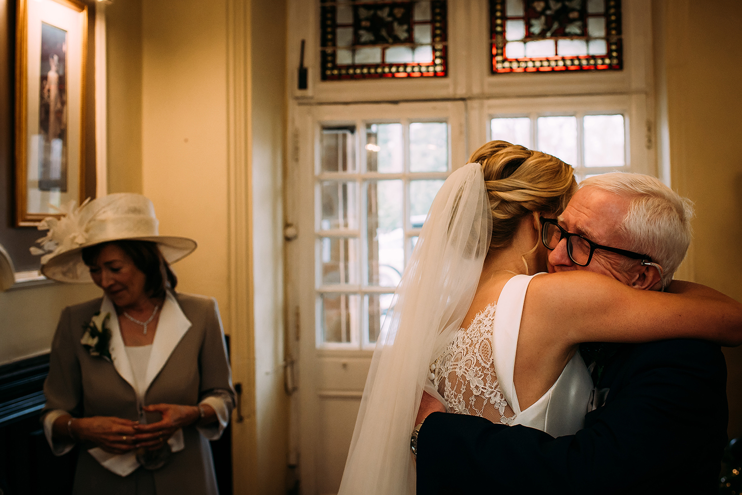 bride hugging father