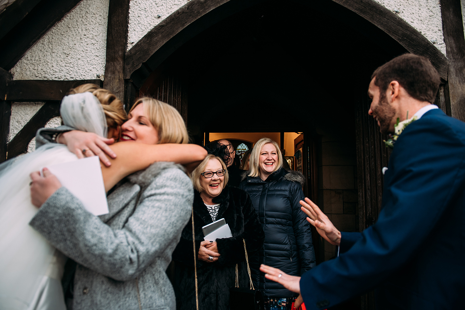 more hugs outside church