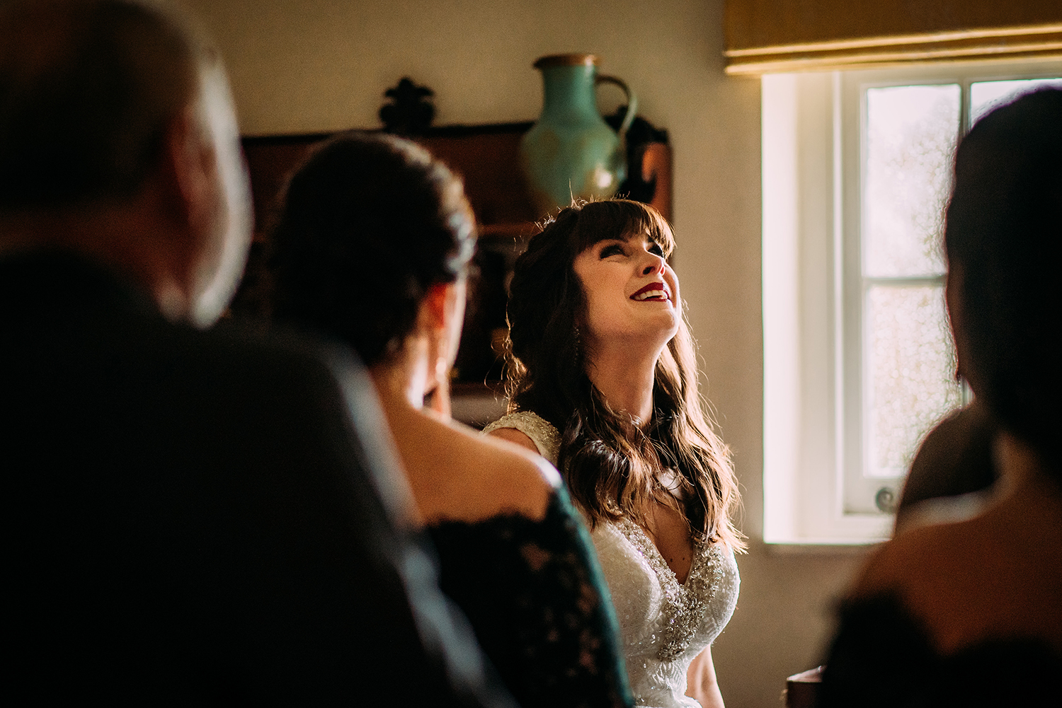 emotional bride with friends