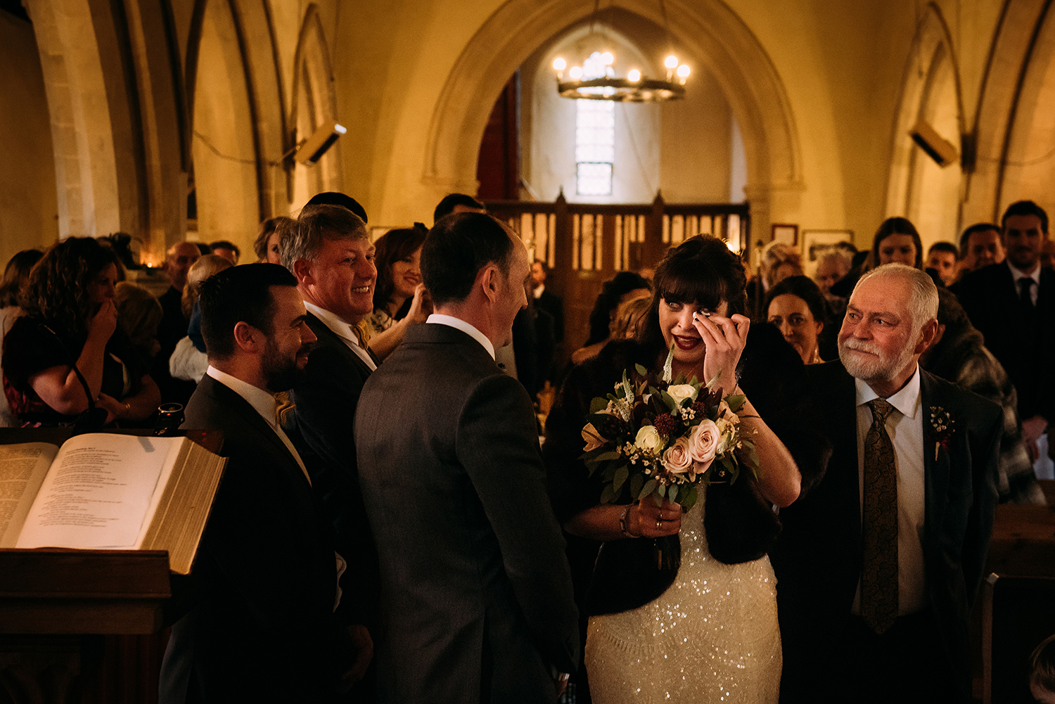 emotional bride arrives at church and wipes eyes