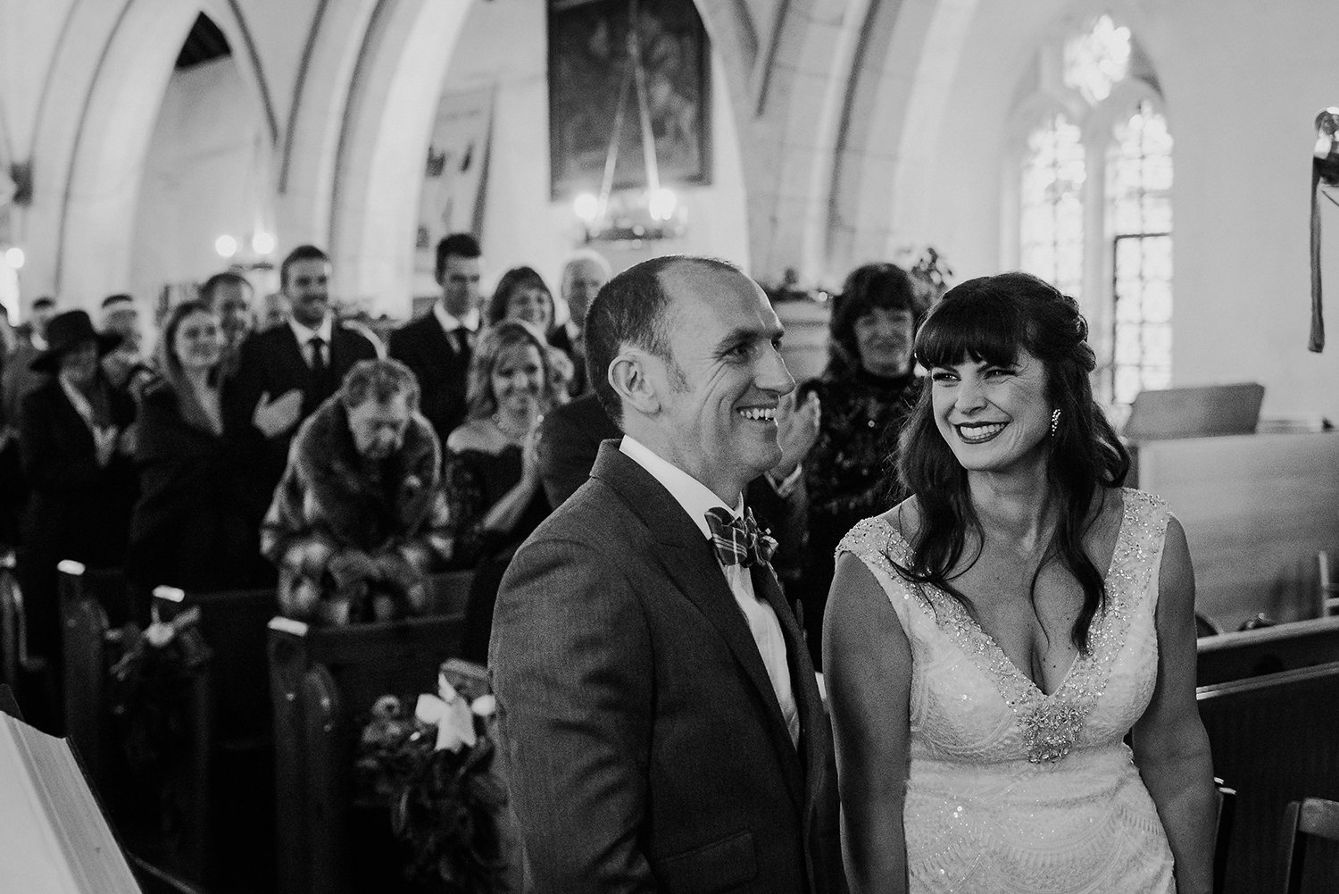 BW photo, bride and groom announced man and wife