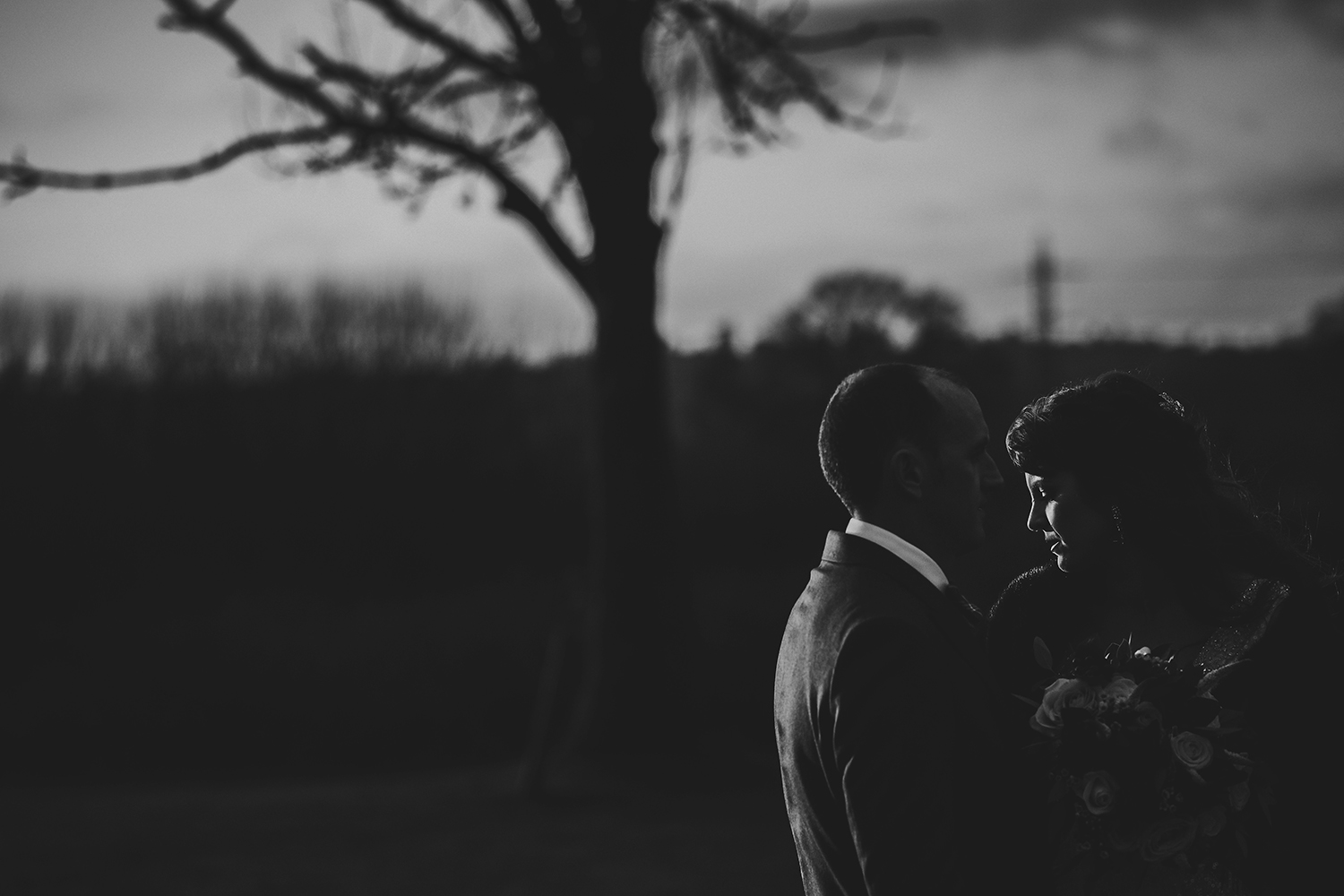 BW photo of bride and groom in good light