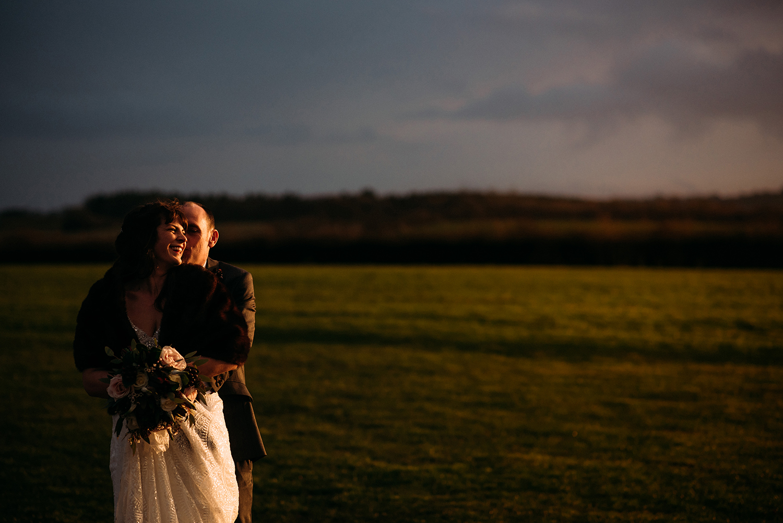 bride and groom portrait in nice light