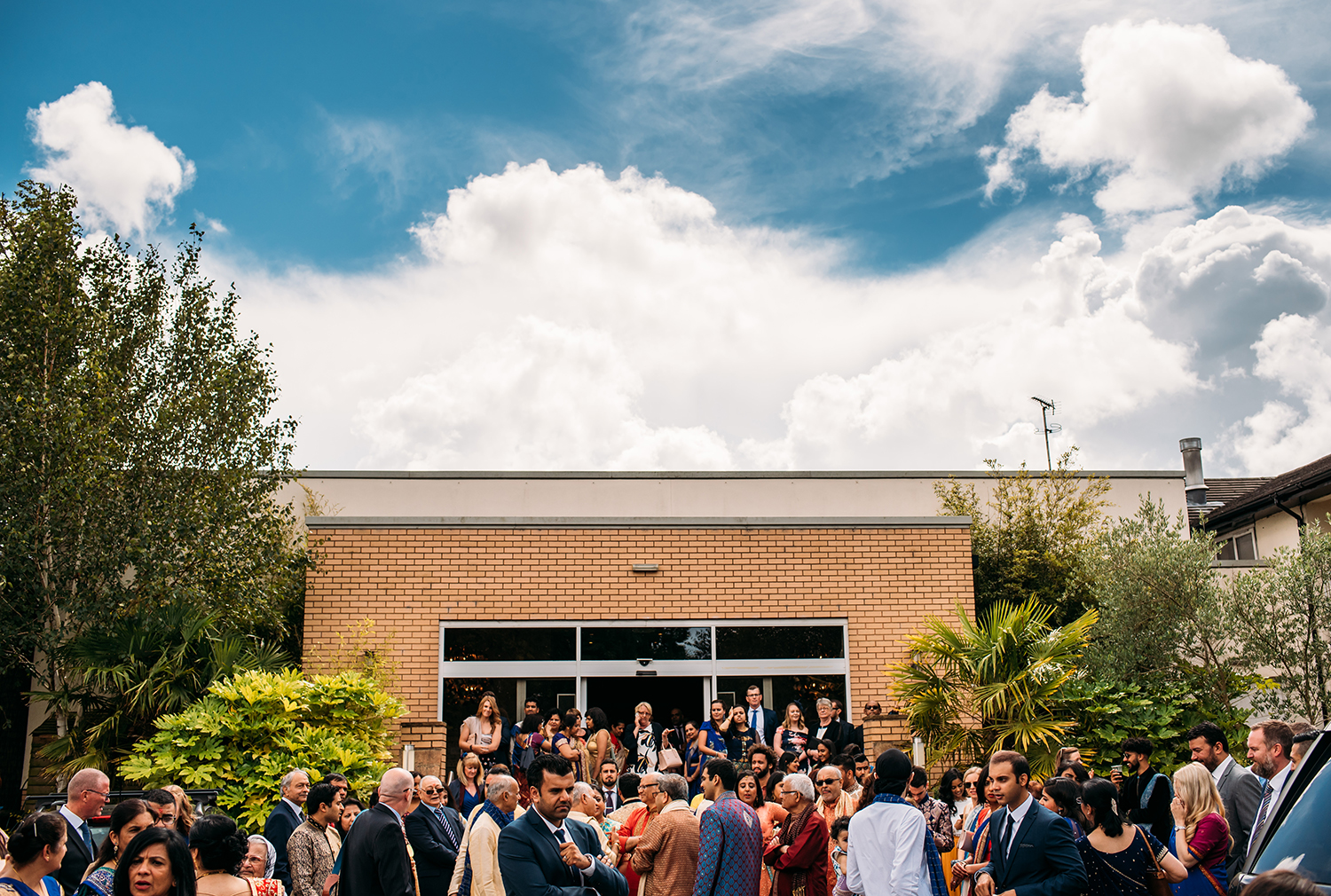 wide shot of the wedding party