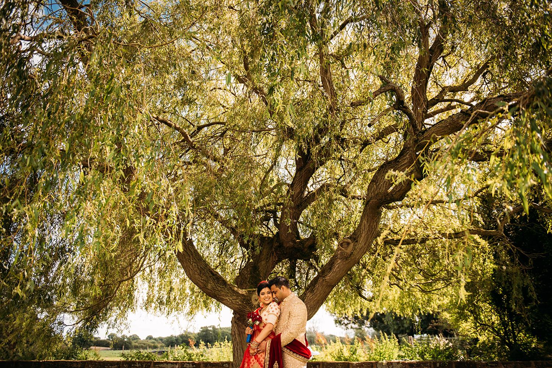 bride and groom under a huge tree