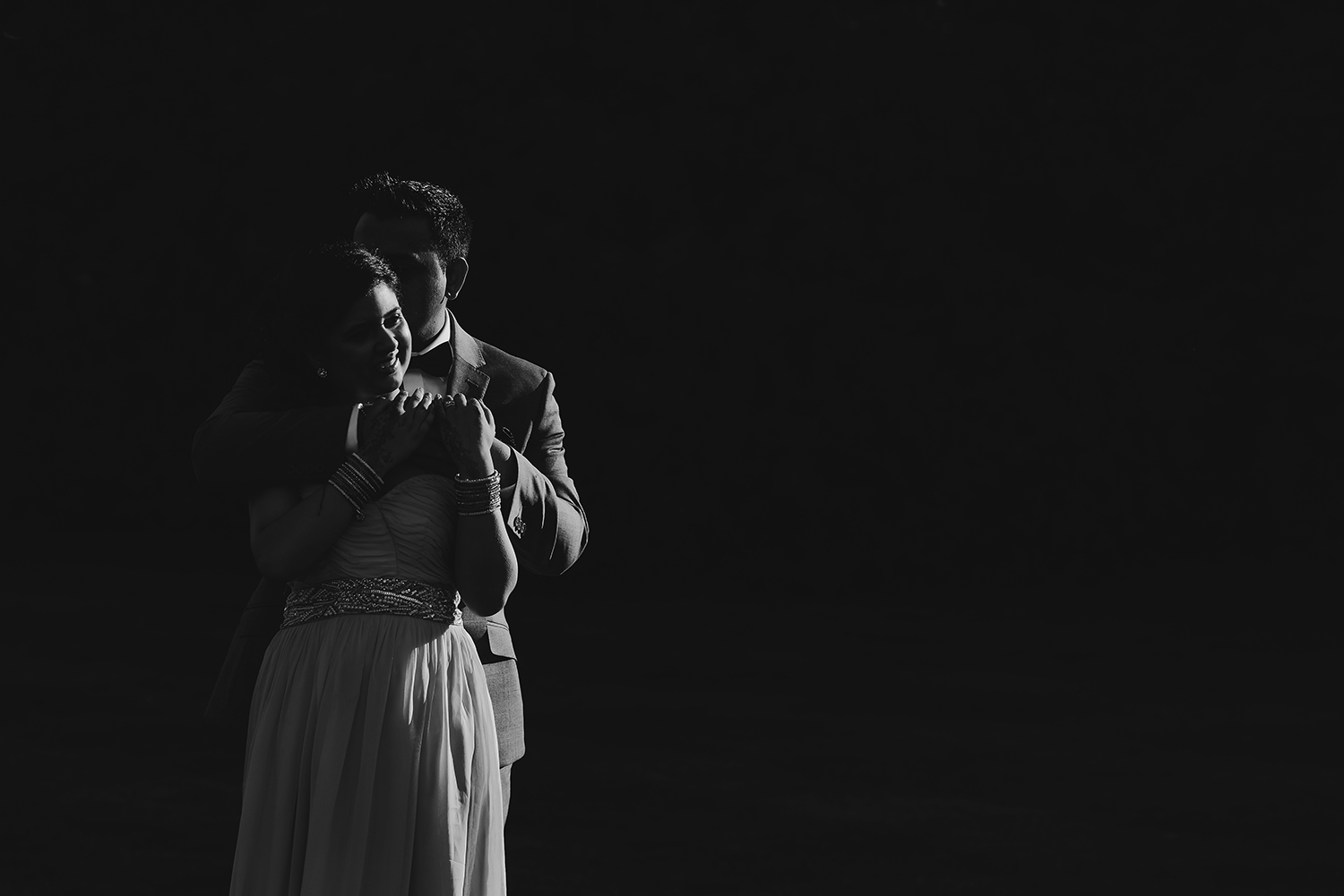 bw photo of bride and groom in nice light