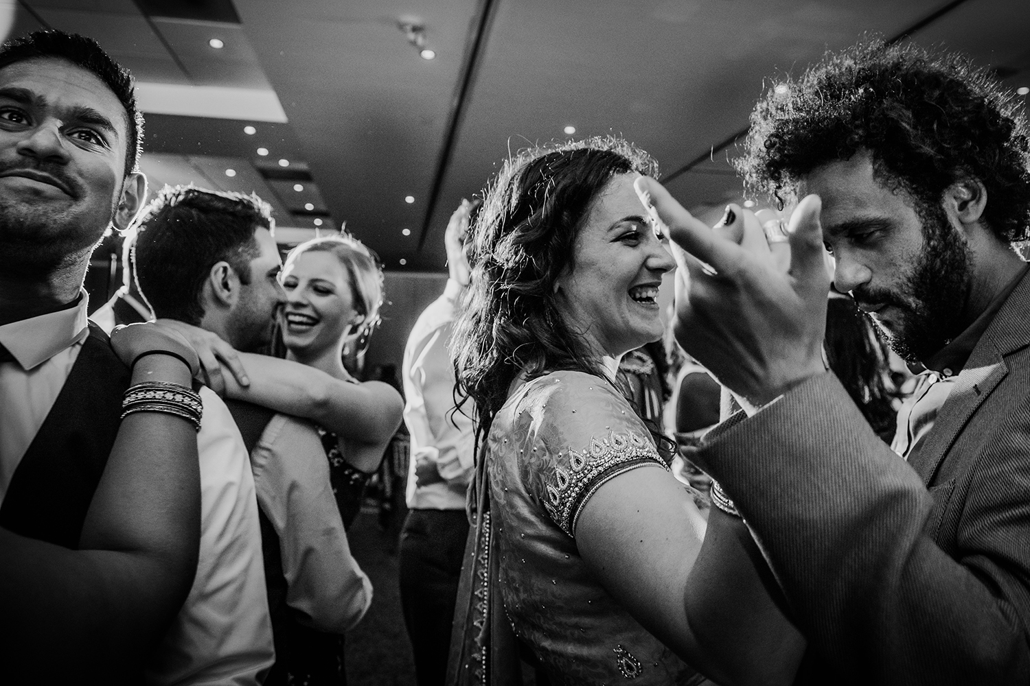 Bw photo of guests dancing